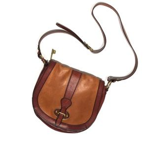 Fossil Two Tone Brown Leather Saddlebag Crossbody